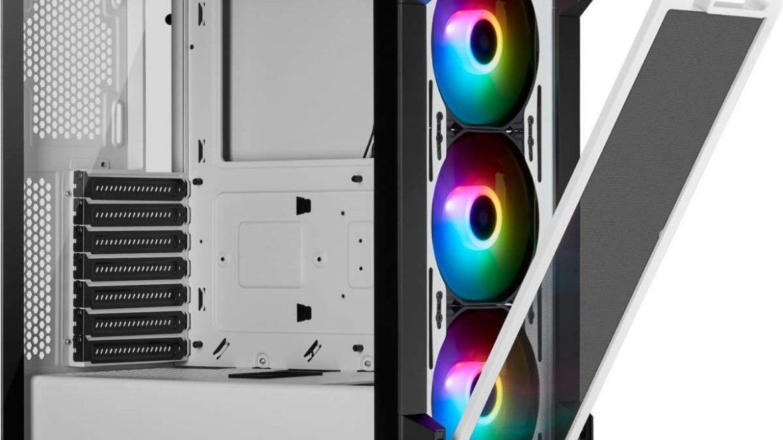 Chasis Corsair semitorre ATX 230T RGB con cristal templado en color blanco 66.78€