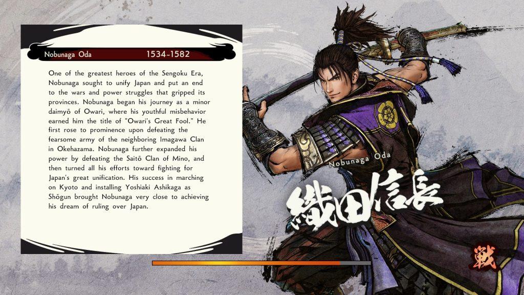 Pantalla de carga con Nobunaga Oda.